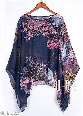 Uk Ladies Summer Chiffon Tunic Top Batwing Oversize Blose Shirt Size 16 18 20 22 2