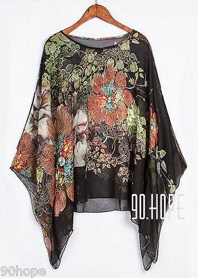 Uk Ladies Summer Chiffon Tunic Top Batwing Oversize Blose Shirt Size 16 18 20 22 7