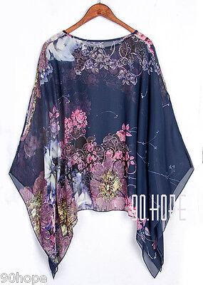 Uk Ladies Summer Chiffon Tunic Top Batwing Oversize Blose Shirt Size 16 18 20 22 3