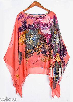 Uk Ladies Summer Chiffon Tunic Top Batwing Oversize Blose Shirt Size 16 18 20 22 5