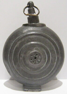Extremely Rare Post Medieval Antique Pewter Flask-Bottle # 738 4