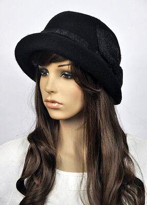 7cba563089 4 of 6 M83 Cute Bow 2-Tone Wool Roll-up Brim Women's Winter Hat Beanie Cap