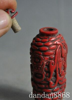 old Chinese Red Coral Hand-carved lucky Dragon Beast statue Snuff bottle 6
