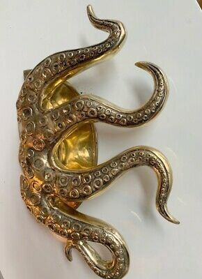 """massive OCTOPUS Solid 100% Brass hollow hand POLISHED Door PULL HANDLE 18""""high B 4"""