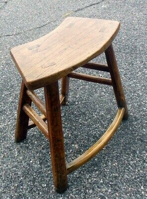 Antique Chinese Chestnut Bench Table Chair 18-19th C. Curved Seat 9