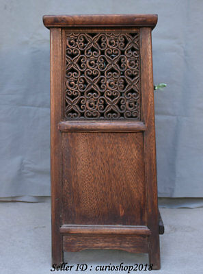 """23.2"""" Old China Huanghuali Wood Dynasty Palace Carving Dragon Cupboard Cabinet 9"""