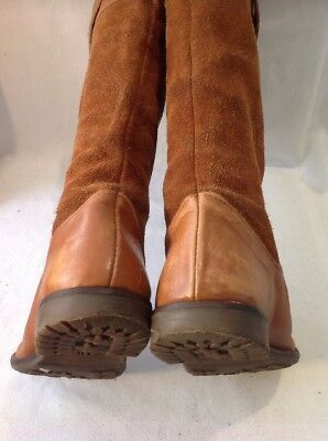 Girls Zara Brown Leather Boots Size 32 7