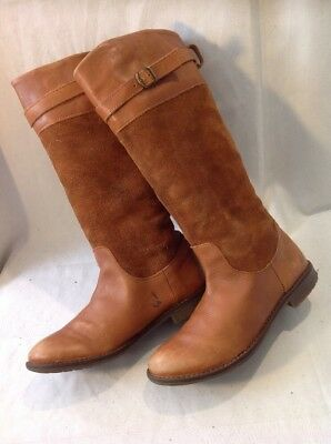 Girls Zara Brown Leather Boots Size 32 5