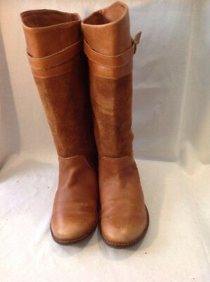 Girls Zara Brown Leather Boots Size 32 3