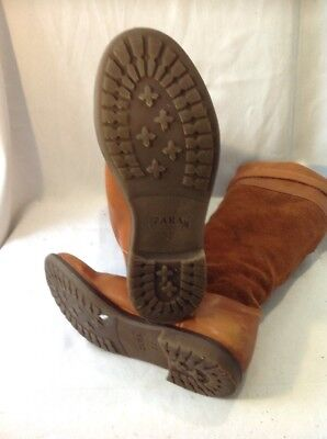 Girls Zara Brown Leather Boots Size 32 8