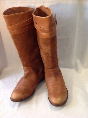 Girls Zara Brown Leather Boots Size 32 11