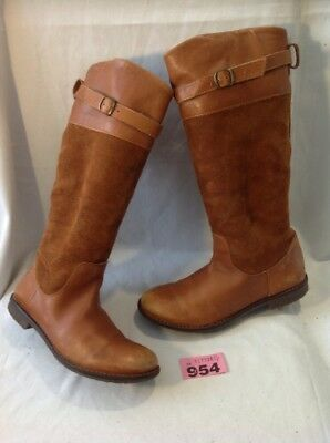 Girls Zara Brown Leather Boots Size 32 12