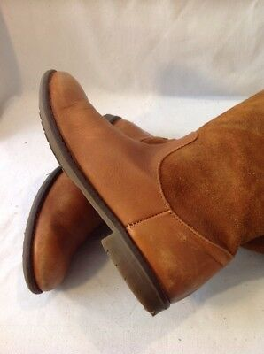 Girls Zara Brown Leather Boots Size 32 9