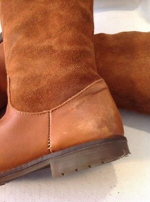 Girls Zara Brown Leather Boots Size 32 10