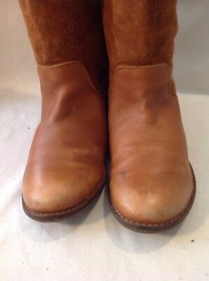 Girls Zara Brown Leather Boots Size 32 4