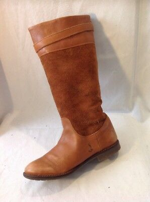 Girls Zara Brown Leather Boots Size 32 2