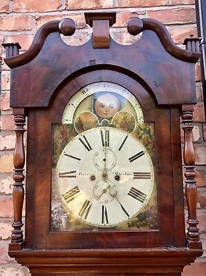 Antique 8 Day Rolling Moon Grand Father Clock By Price Of Chester 2