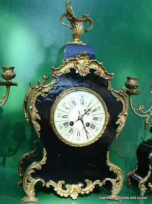ANTIQUE JAPY FRERES 8 DAY ORMOLU ROCOCO BOULLE TYPE CANDELLABRAS CLOCK SET 1880c 2