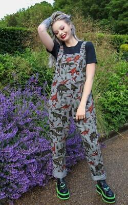 Run And Fly Adventure Dinosaur Grey Cord Corduroy Baggy Dungarees Overalls 5
