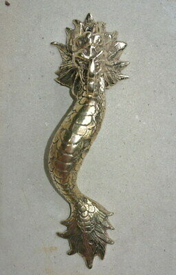 """2 Dragon door pull 30 cm POLISHED brass vintage old style house handle 12"""" B 6"""