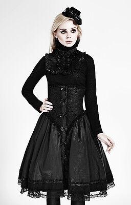 Top haut gothique lolita victorien steampunk jabot camée broderies Punkrave Noir 9