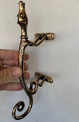 "2 GECKO HOUND solid brass door dog vintage old style house PULLS handle 9"" knobB 2"