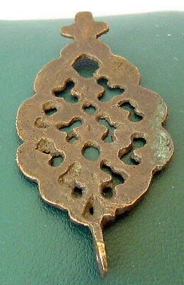 Amazing Post-Medieval Large Bronze Pendant With Cross  # 69B