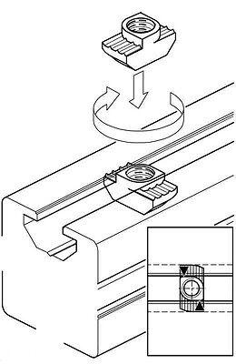 10 écrou M4 pour profilé aluminium 20x20 - ÉCROU 1/4 DE TOUR - tête marteau en T