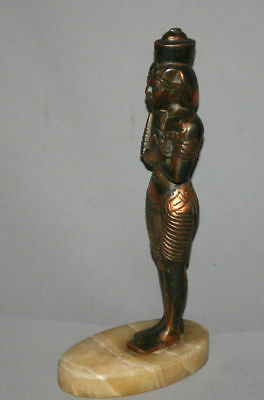 Vintage Hand Made Egyptian Pharaoh Metal Copper Plated Figurine Statuette 4