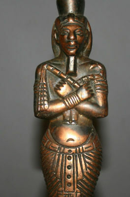 Vintage Hand Made Egyptian Pharaoh Metal Copper Plated Figurine Statuette 9
