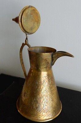"Bedouin /Egyptian Brass DALLAH COFFEE POT 10"" Antique Reproduction 2"