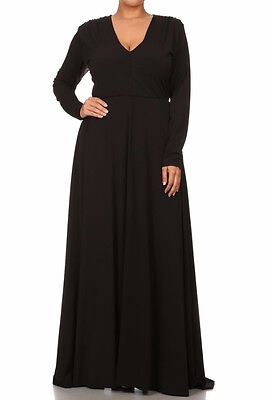 PLUS SIZE SOLID Maxi Dress V-Neck Long Sleeve High Waist Full Sweep ...