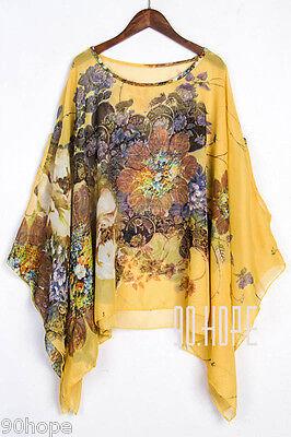 Uk Ladies Summer Chiffon Tunic Top Batwing Oversize Blose Shirt Size 16 18 20 22 9