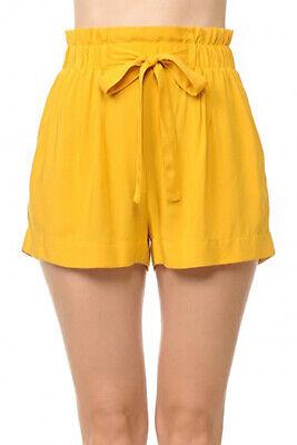 Women's Woven Paperbag High Waist Shorts Tie Belt Pockets Casual Solid Basics 7