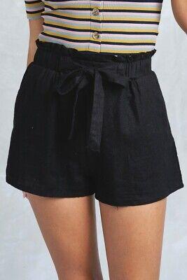 Women's Woven Paperbag High Waist Shorts Tie Belt Pockets Casual Solid Basics 12