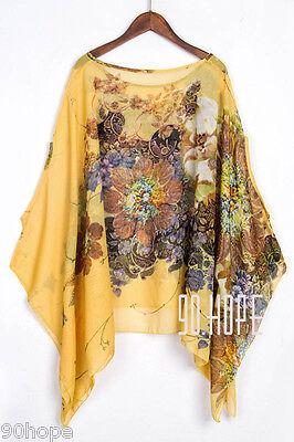 Uk Ladies Summer Chiffon Tunic Top Batwing Oversize Blose Shirt Size 16 18 20 22 10
