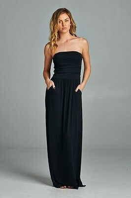 74584aed6c1 ... VANILLA BAY Plus Size Black Strapless Maxi Dress with Pockets 1X 2X 3X 2