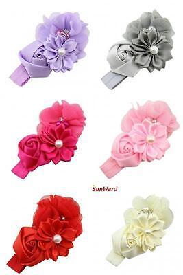 Baby Girls Flower Hairband Soft Elastic Headband Gifts Hair Accessories Band 2