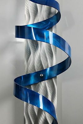 4 Of 8 Blue Abstract Metal Wall Sculpture Painted Art Accent Hurricane