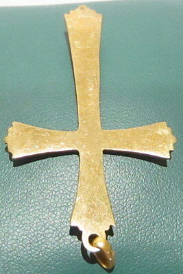 OUTSTANDING VINTAGE BRASS CROSS,ENGRAVING,EARLY 20th. Century !!! # 41A 6