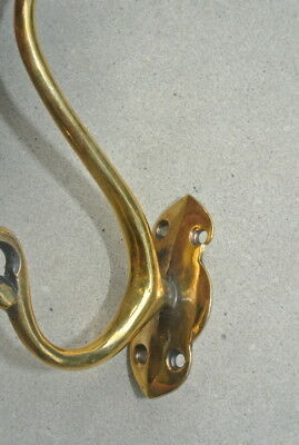 "2 Large SKULL HOOKS Polished hollow real Brass old style day the dead 6 ""long B 11"