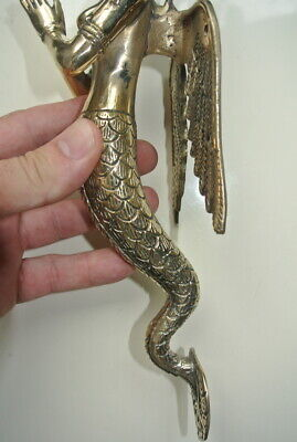 """praying Dewi brass door antique polished old style house PULL handle 12"""" wingB 6"""