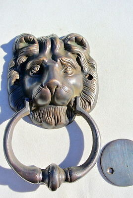 "2 LION head heavy  Door Knocker SOLID BRASS vintage antique style house 7"" B 4"