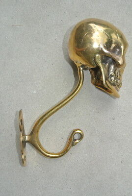 "2 Large SKULL HOOKS Polished hollow real Brass old style day the dead 6 ""long B 8"