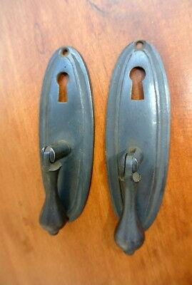 "4 oval drop Pull knob pulls handles 4"" brass door key hole vintage old style B 5"
