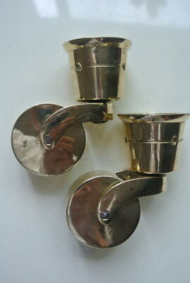 2 big polished CUP solid Brass foot castors wheel chairs tables 9cm high polishB 5