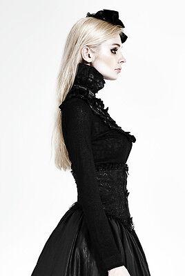 Top haut gothique lolita victorien steampunk jabot camée broderies Punkrave Noir 6