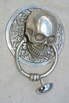 "round SKULL head ring pull Handle sILVER BRASS 4"" day of the dead door KNOCKER B 4"