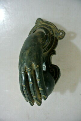"small hand fist ball front Door Knocker hand 6 "" long fingers antique green B 7"