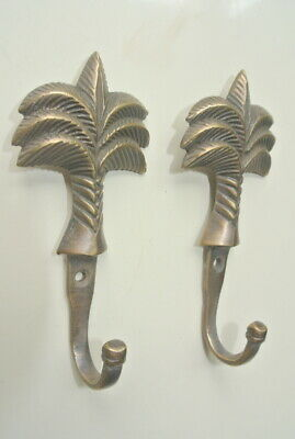 """4 small PALM BRASS HOOK COAT WALL MOUNTED HANG TROPICAL old style hook 4"""" 5"""